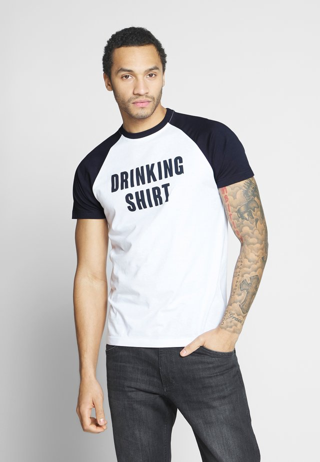 FLUORITE - T-shirts print - white/navy