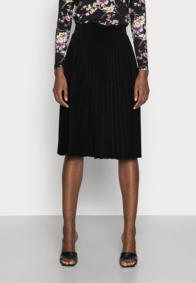 Plisse A-line mini skirt - A-linjekjol - black
