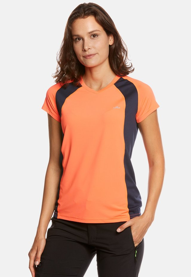 ELLA - T-shirt print - neon orange/navy