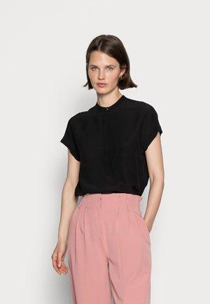 BLOUSE SHORT SLEEVE  HIDDEN BUTTON PLACKET - T-shirt basic - black