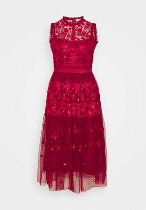 EMBROIDED DRESS - Vestido de cóctel - red