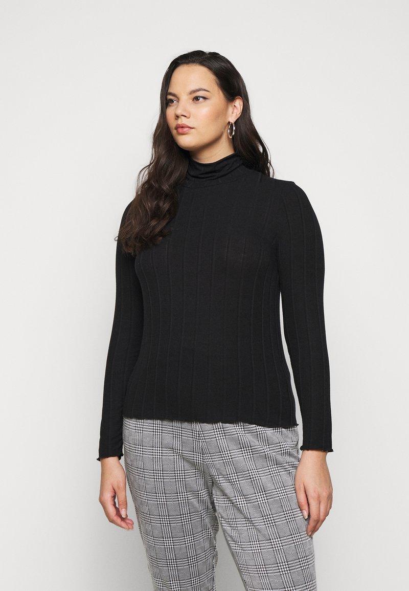 Pieces Curve - PCSAOREM ROLL NECK - Long sleeved top - black