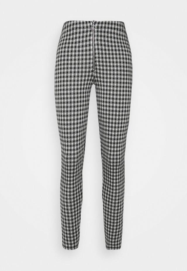 CHECK JACQURD - Leggings - Trousers - black