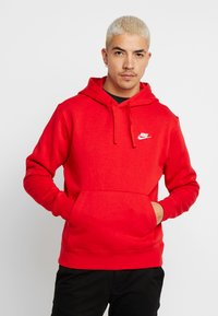 Nike Sportswear - CLUB HOODIE - Bluza z kapturem - university red/white - 0