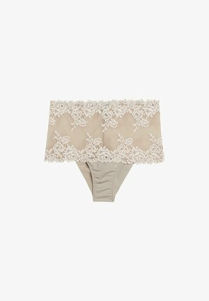 PRETTY FLOWERS - Pants - dust beige/ white cream