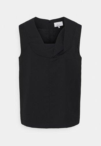 SERGE FOLDED NECKLINE - Blouse - black