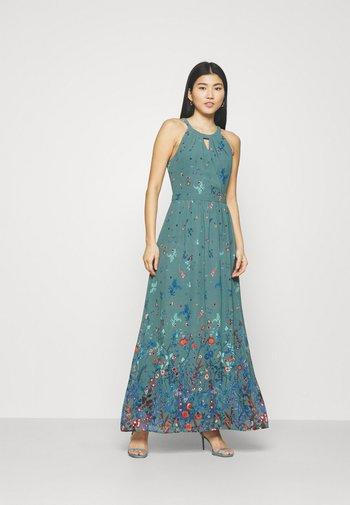 PRINT FLOWER - Maxikjole - dark turquoise