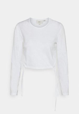 RECYCLED SINGLE TOP CUT OUT TIED SIDES - Long sleeved top - white