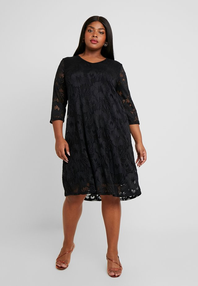 V-NECK SHIFT DRESS 3/4 SLEEVE - Kjole - black