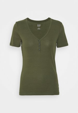 HENLEY TEE - Basic T-shirt - army jacket green