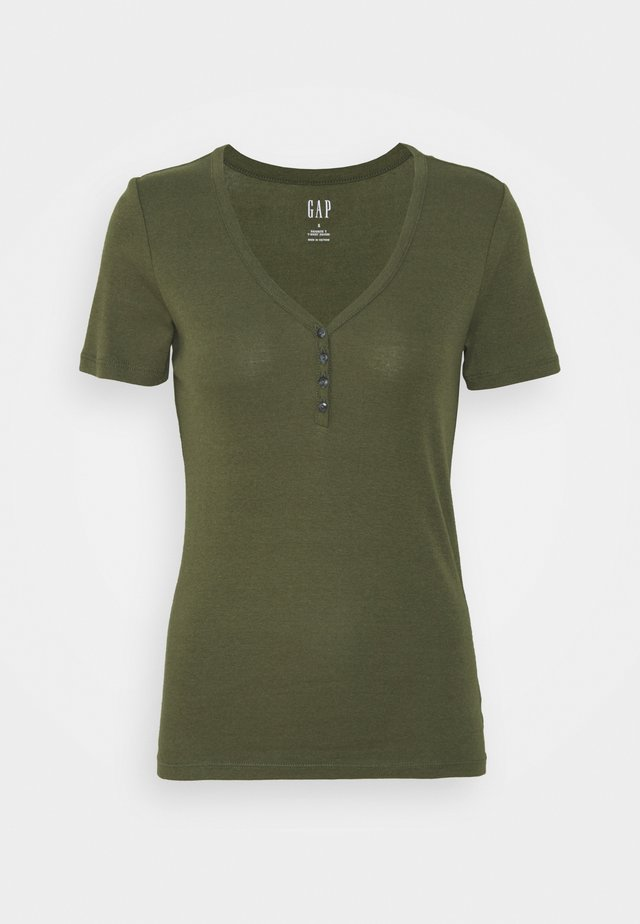 HENLEY TEE - Basic T-shirt - army jacket green