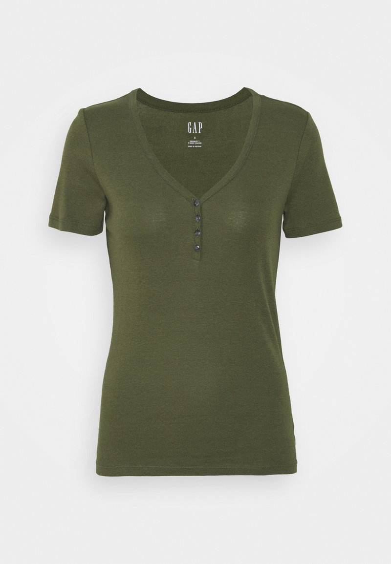 GAP - HENLEY TEE - Camiseta básica - army jacket green