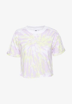 CROP - Print T-shirt - white/purple tint/yellow