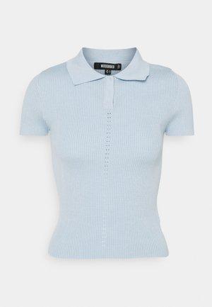 RIBBED COLLAR - Poloskjorter - blue