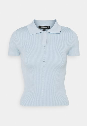 RIBBED COLLAR - Poloshirt - blue