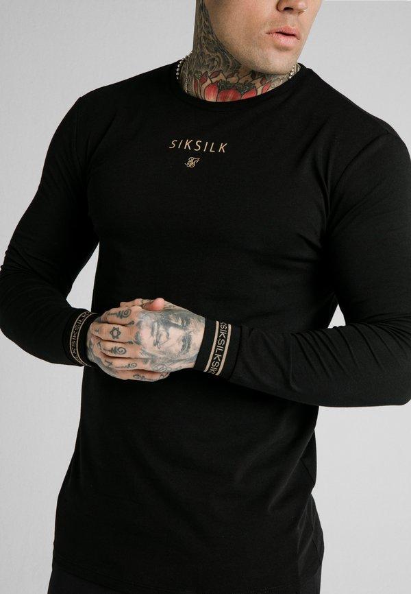 SIKSILK ELEMENT GYM TEE - Bluzka z długim rękawem - black/gold/czarny Odzież Męska IKDP