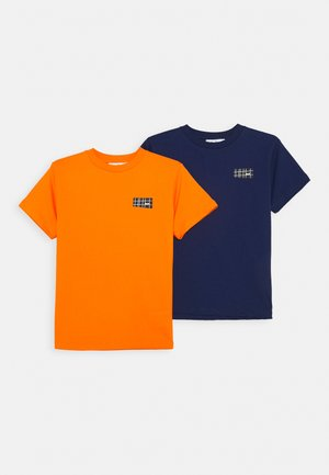 RASMUS 2 PACK - T-shirt basic - ink blue/signal orange