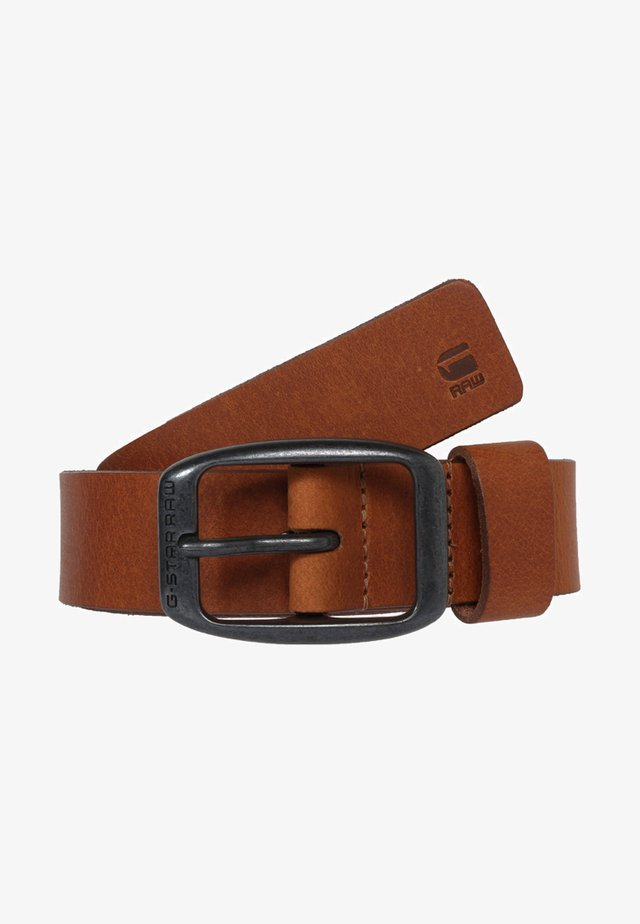 BRYN - Belt - dark cognac/black metal
