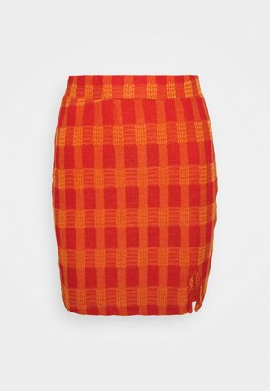 MINI SKIRT WITH SIDE SPLIT - Pencil skirt - red/orange