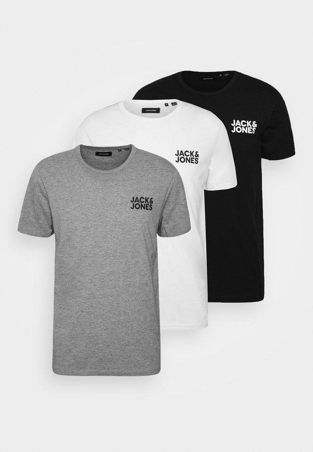 JACCHEST TEE 3 PACK - Maglietta intima - black/white/light grey melange