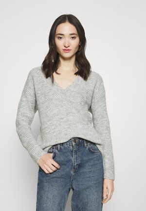 ONLROSE V NECK - Pullover - light grey melange