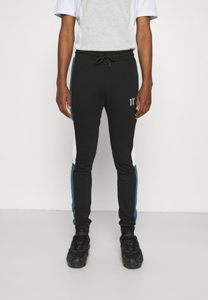 CUT AND SEW JOGGERS SKINNY FIT - Teplákové kalhoty - black/indian teal/white