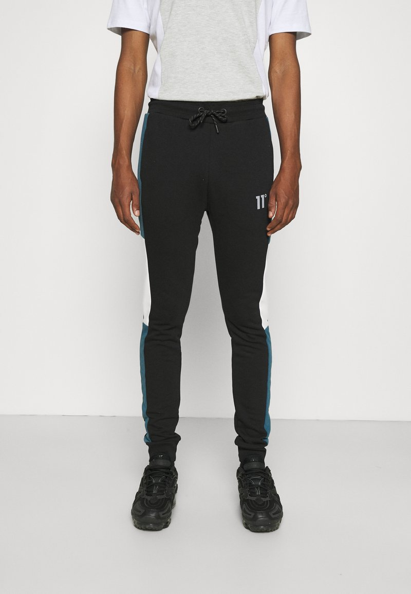 11 DEGREES - CUT AND SEW JOGGERS SKINNY FIT - Teplákové kalhoty - black/indian teal/white