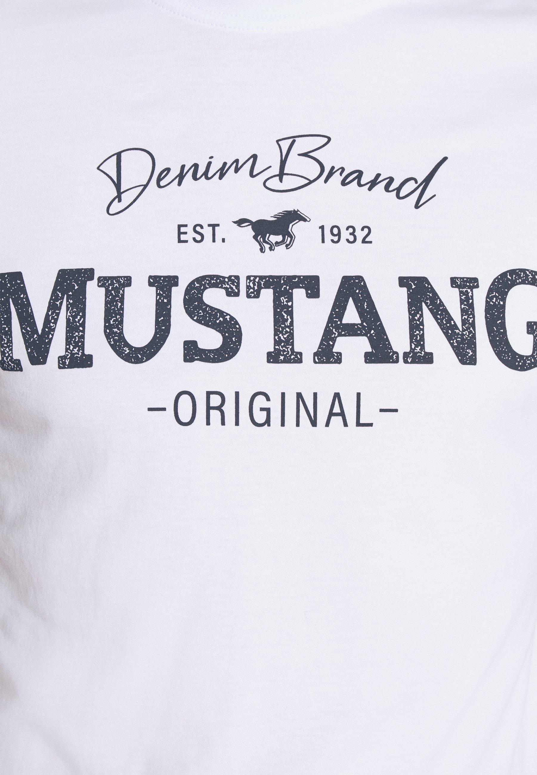 Mustang ALEX LOGO - Print T-shirt - white WW1ra