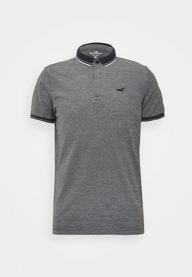 Hollister Co. MODERN COLLAR - Poloshirt - textural black/ white tipping/schwarz Hylypk