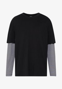 Urban Classics - DOUBLE LAYER STRIPED TEE - Langærmede T-shirts - black - 3