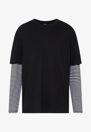 DOUBLE LAYER STRIPED TEE - Long sleeved top - black