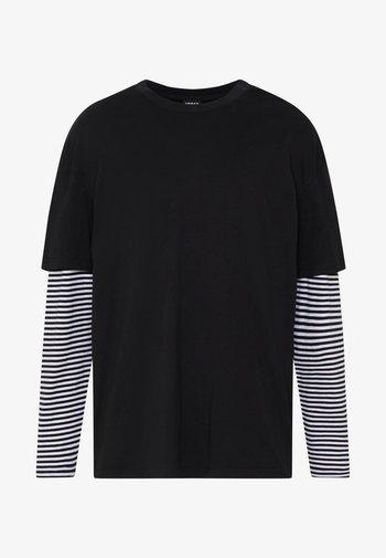 DOUBLE LAYER STRIPED TEE - Långärmad tröja - black