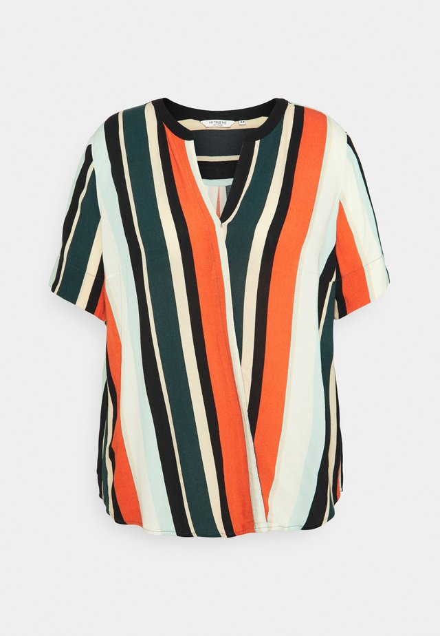 BLOUSE WITH SLANTED PLACKET - T-shirt print - multicolor sahara
