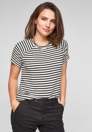 HAUT EN JERSEY - Print T-shirt - black stripes