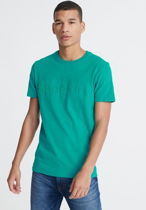 SUPERDRY CORE FAUX SUEDE T-SHIRT - Print T-shirt - green