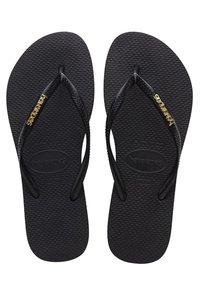 Havaianas - SLIM LOGO METALLIC - Pool shoes - black - 1