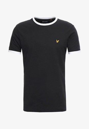 RINGER TEE - Basic T-shirt - true black/white