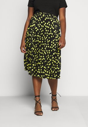 PRINT PLEATED MIDI SKIRT - Pleated skirt - black/lime
