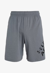Under Armour - SPORTSTYLE WORDMARK LOGO - Korte sportsbukser - pitch gray/black