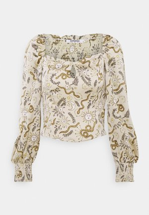 KEYHOLE FRONT WITH LONG SLEEVES - Blouse - stone