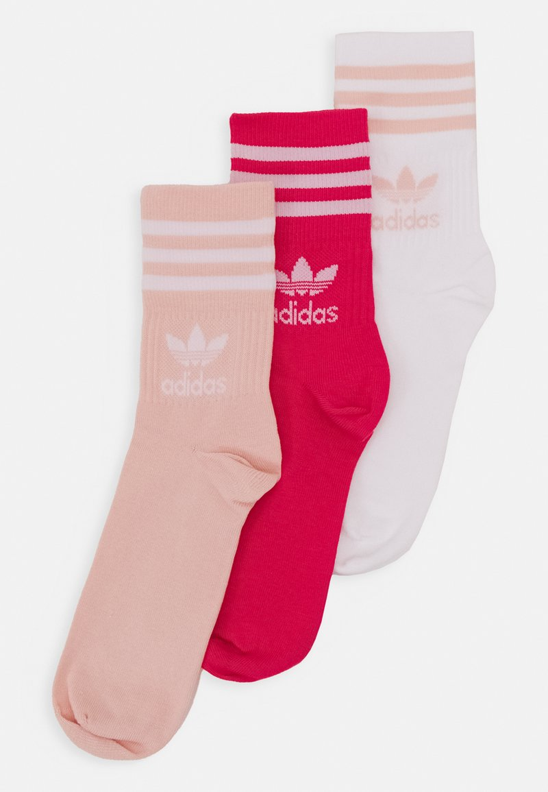 adidas Originals - MID CUT UNISEX 3 PACK - Chaussettes - white/pink/light pink