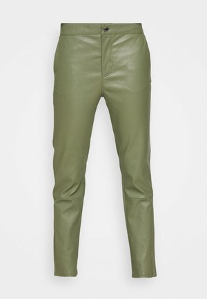 LEYA - Leather trousers - olivine