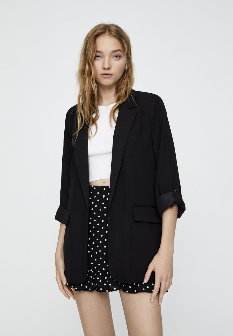 PULL&BEAR - Manteau court - black