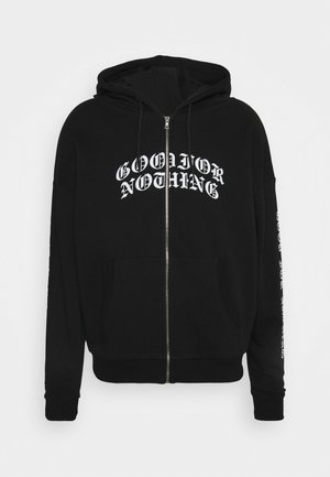 ZIP THRU HOOD WITH GOTHIC BRANDING - Collegetakki - black