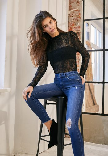 MID ANKLE RAW - Jeans Skinny Fit - dark blue