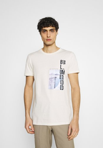 WITH FOTOPRINT - Print T-shirt - soft beige solid