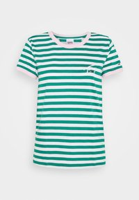 LOGO STRIPE RINGER TEE - Print T-shirt - white / midwest green