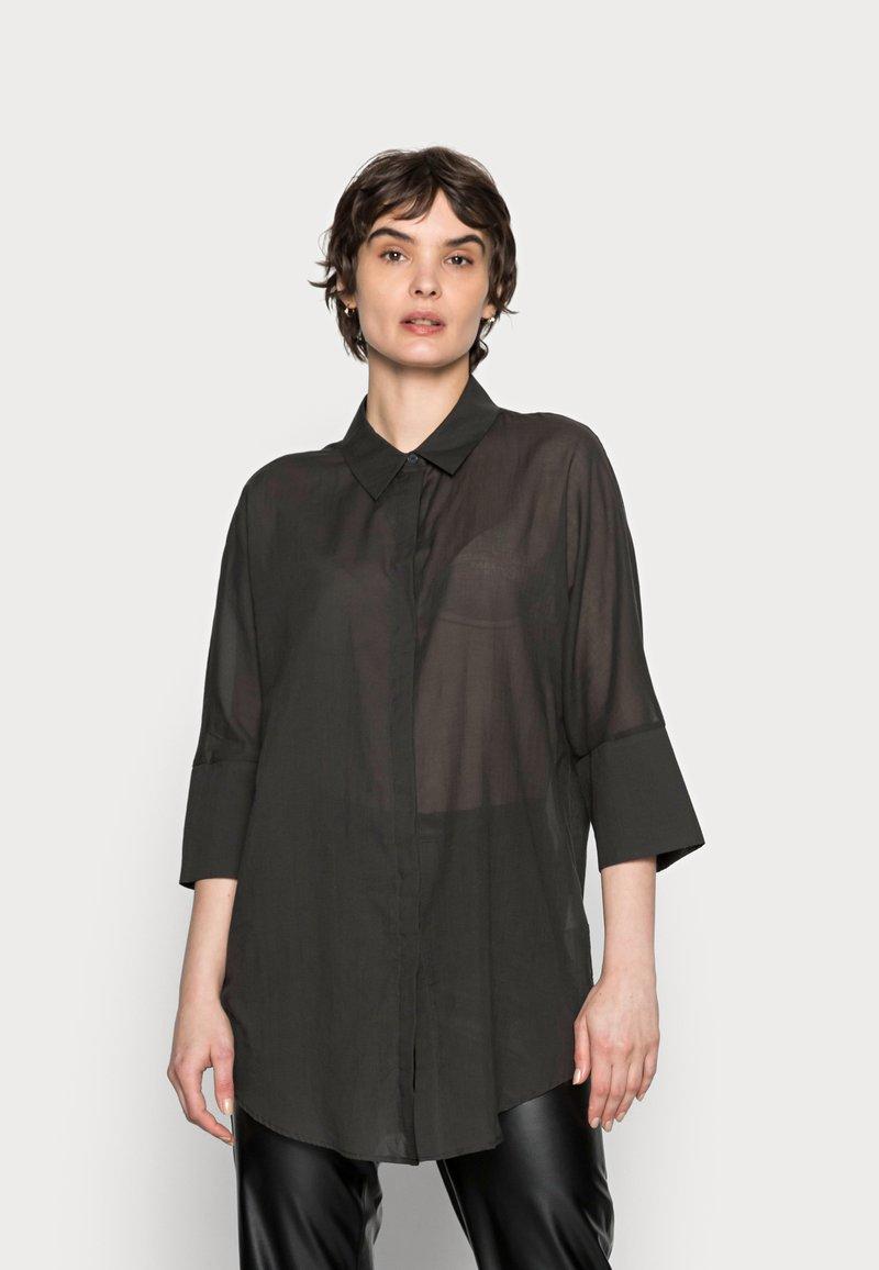Opus - FRITZI - Button-down blouse - black oliv