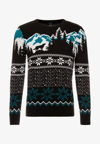 New Look - WOLF FAIRISLE CREW - Svetr - black - 3