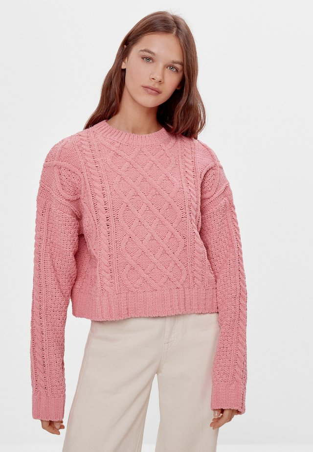 MIT ZOPFMUSTER - Pullover - pink